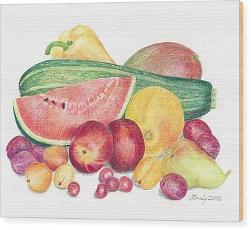 Tutti Frutti Wood Print by Eve-Ly Villberg