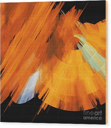 Tutu Stage Left Abstract Orange Wood Print by Andee Design