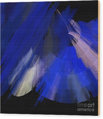 Tutu Stage Left Blue Abstract Wood Print by Andee Design