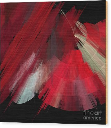 Tutu Stage Left Red Abstract Wood Print by Andee Design