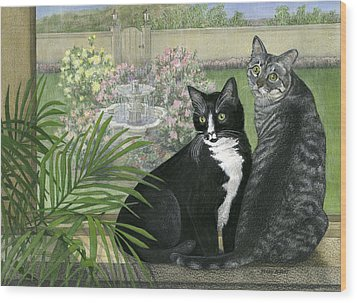 Tuxedo And Tabby Wood Print