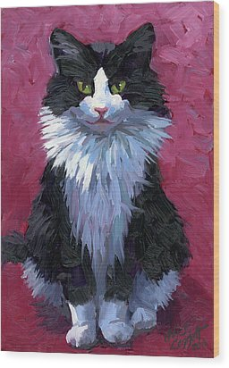 Tuxedo Cat Wood Print by Alice Leggett