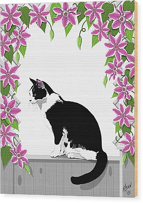Tuxedo Cat And Clematis Wood Print