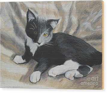 Wood Print featuring the painting Tuxedo Kitten by Jeanne Fischer