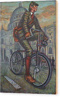 Bob On His Bantam St Pauls London Wood Print