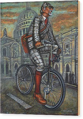Wood Print featuring the painting Tweed Run In Grey Passing St Pauls London  by Mark Howard Jones