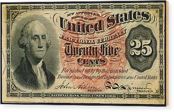 Twenty Five Cent 4th Issue U.s. Fractional Currency Fr 1302 Wood Print by Lanjee Chee