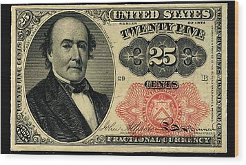 Twenty Five Cents 5th Issue U.s. Fractional Currency Wood Print by Lanjee Chee