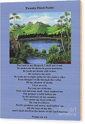 Twenty-third Psalm With Twin Ponds Blue Wood Print by Barbara Griffin