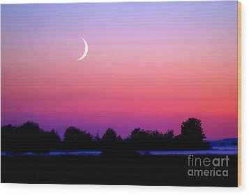 Twilight And Crescent Moon - Lummi Bay Wood Print by Douglas Taylor
