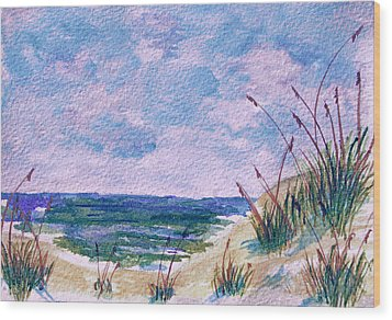 Twilight Beach Wood Print