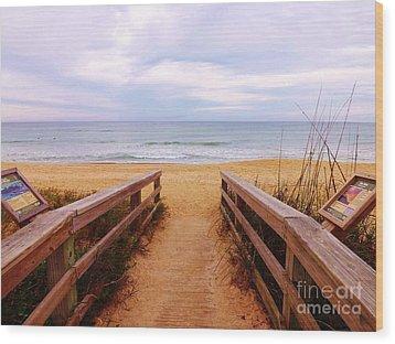 Twilight Beach Walk Wood Print