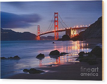 Twilight - Beautiful Sunset View Of The Golden Gate Bridge From Marshalls Beach. Wood Print