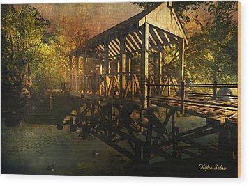 Twilight Bridge Wood Print