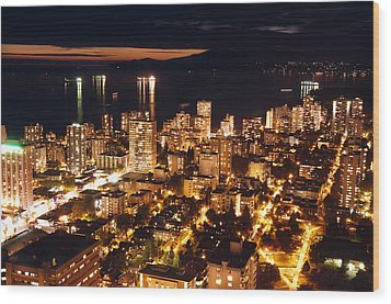 Wood Print featuring the photograph Twilight English Bay Vancouver Mdlxvii by Amyn Nasser