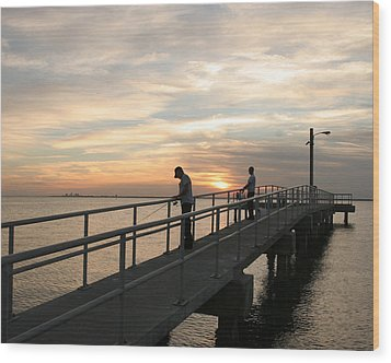 Twilight Fishing Wood Print