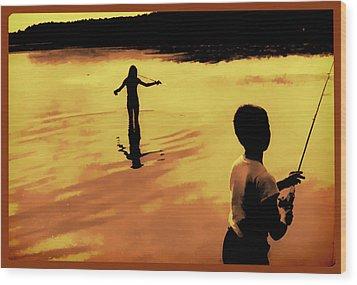 Wood Print featuring the photograph Twilight Fishing by John Hansen