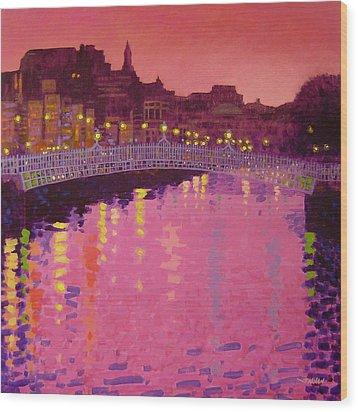Twilight - Ha' Penny Bridge Dublin Wood Print by John  Nolan