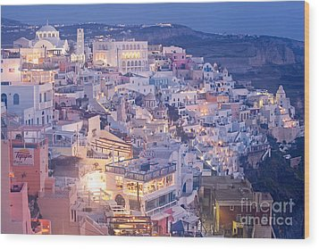 Twilight In Santorini Wood Print by Aiolos Greek Collections