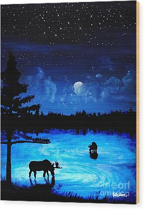 Twilight Moose Wood Print by Tylir Wisdom