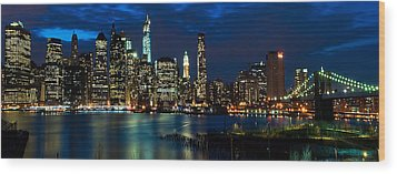 Twilight Nyc Panorama Wood Print
