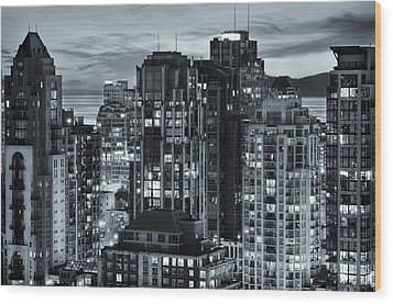 Wood Print featuring the photograph Twilight On Cityscape Of Vancouver Overlooking English Bay - Greeting Card by Amyn Nasser