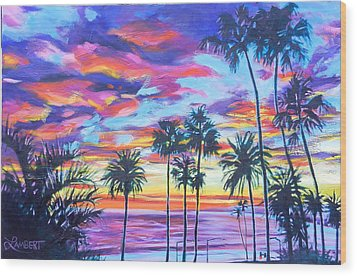 Twilight Palms Wood Print by Bonnie Lambert