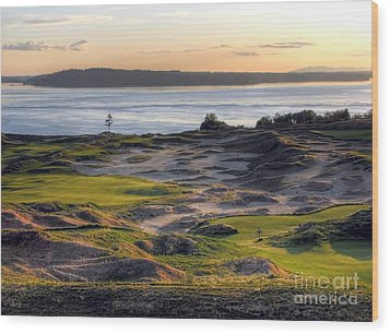 Wood Print featuring the photograph Twilight Paradise - Chambers Bay Golf Course by Chris Anderson
