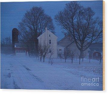 Twilight Snow On Bauman Road Wood Print by Anna Lisa Yoder