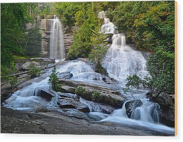 Twin Falls South Carolina Wood Print by Frozen in Time Fine Art Photography