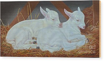 Wood Print featuring the painting Twin Kids by K L Kingston