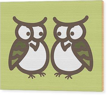 Twin Owl Babies- Nursery Wall Art Wood Print by Nursery Art