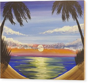 Wood Print featuring the painting Twin Palms by Darren Robinson