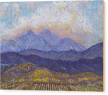 Wood Print featuring the painting Twin Peaks Above The Fruited Plain by Margaret Bobb
