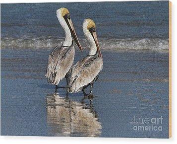 Twin Pelicans Wood Print by Deborah Benoit