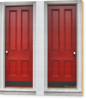 Twin Red Doors Wood Print by Olivier Le Queinec