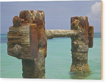 Twin Rusted Dock Piers Of The Caribbean Wood Print