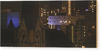 Twinkling City Wood Print by Yvonne Wright