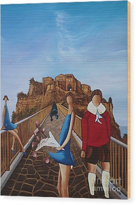 Twins On Bridge Wood Print by William Cain