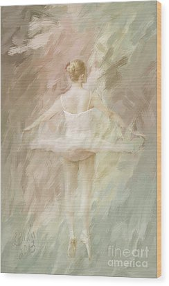 Wood Print featuring the painting Twirling by Linda Blair