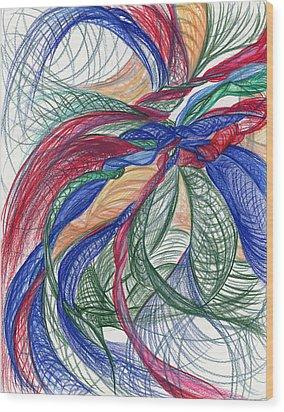 Twirls And Cloth Wood Print by Kelly K H B