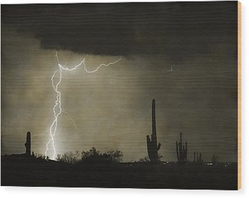 Twisted Desert Lightning Storm Wood Print by James BO  Insogna