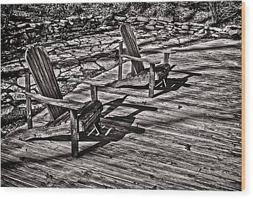 Wood Print featuring the photograph Two Adirondack Chairs In B/w by Greg Jackson