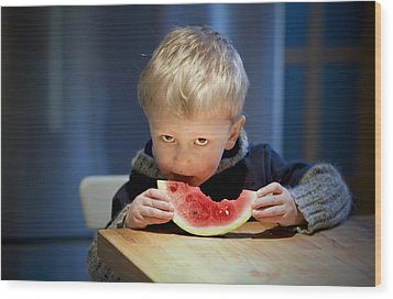 Two And A Half Years Of Watermelon Love Wood Print by Valerie Rosen