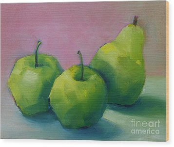 Two Apples And One Pear Wood Print