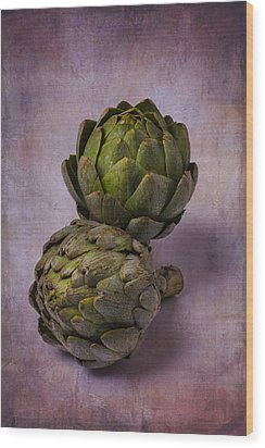 Two Artichokes Wood Print by Garry Gay
