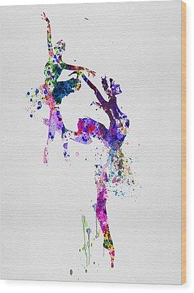 Two Ballerinas Dance Watercolor Wood Print by Naxart Studio