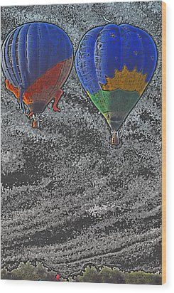 Two Balloons In Colored Pencil  Wood Print