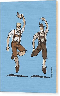 Two Bavarian Lederhosen Men Wood Print by Frank Ramspott