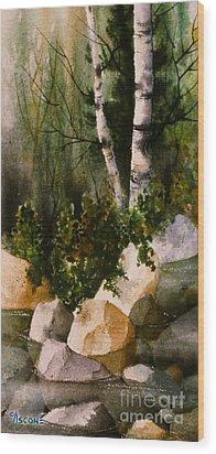 Two Birch By Rocky Stream Wood Print